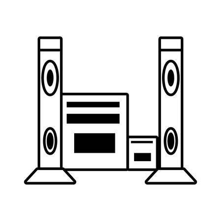 home theater: home theater music video appliance outline vector illustration eps 10