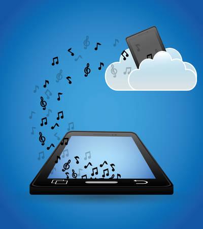 mobile music cloud upload note vector illustration eps 10 Illustration