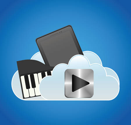 mobile music smartphone cloud piano vector illustration eps 10