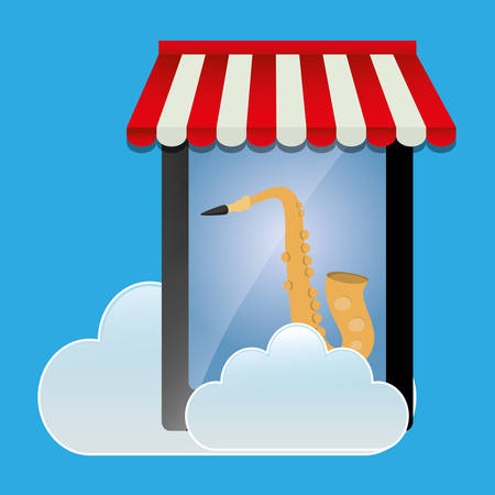 mobile music online smartphone saxophone vector illustration eps 10 Illustration