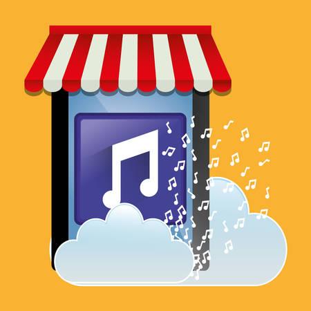 mobile music store online cloud vector illustration eps 10
