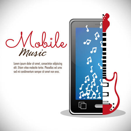 g string: smartphone electric guitar mobile note music vector illustration eps 10