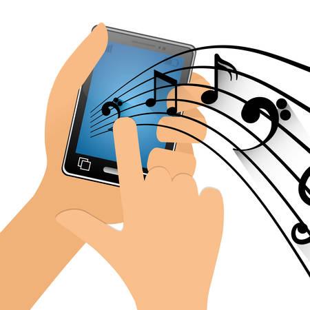 hand touch mobile phone note music vector illustration eps 10