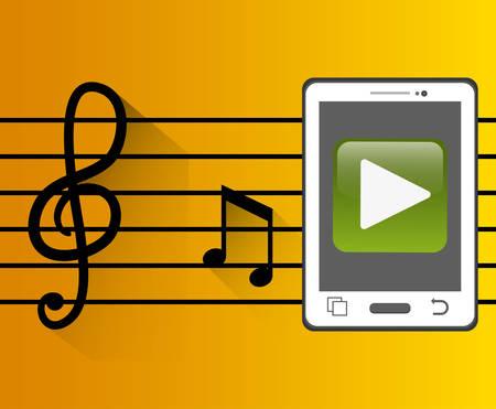 pentagramma musicale: smartphone con lettore musicale mobile pentagramma chiave illustrazione vettoriale eps 10