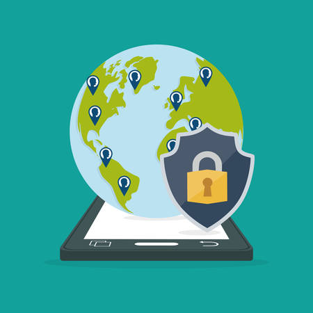 smartphone contacts globe padlock internet security vector illustration eps 10