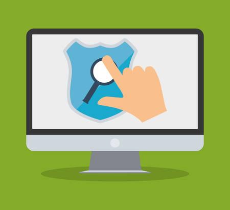 インターネット セキュリティ コンピューター手タッチ検索ベクトル イラスト eps 10