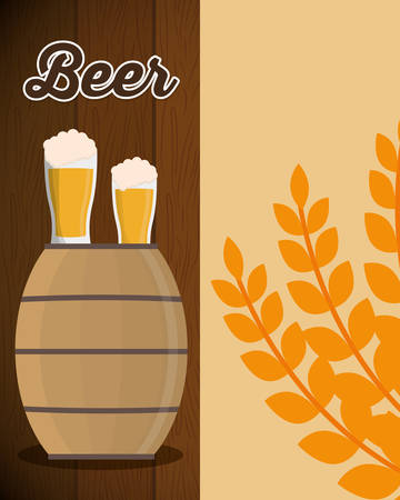 dewy: wooden barrel beer glass and wheats leaf vector illustration eps 10 Illustration