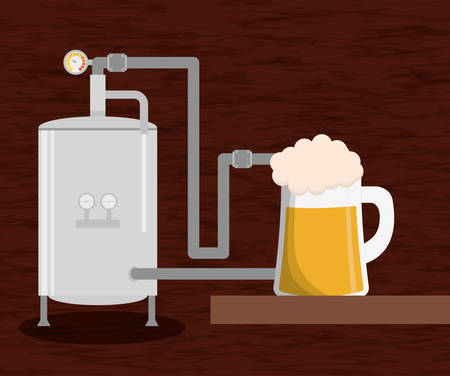 brewery beer production factory and beer glass vector illustration eps 10 Çizim