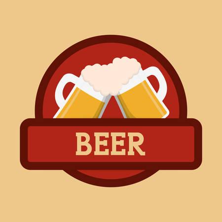 clinking: beer mugs foam clinking red label vector illustration eps 10