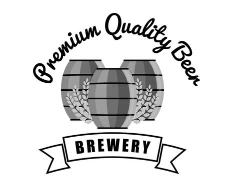 brewery premium quality beer barrels wooden vintage vector illustration eps 10