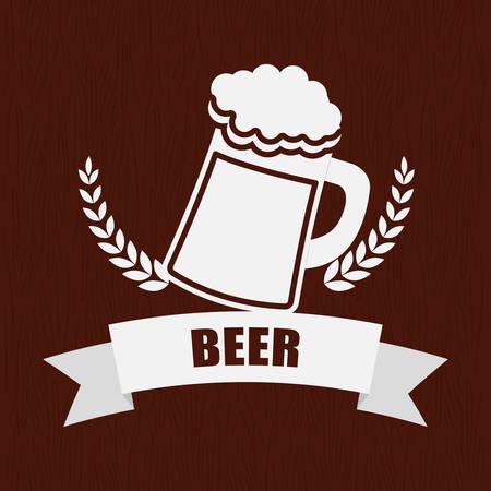 beer mug glass wheat pub label vector illustration eps 10 Illustration