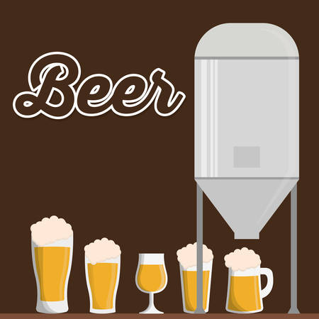 beer garden: traditional brewing with differents beer glasses vector illustration eps 10