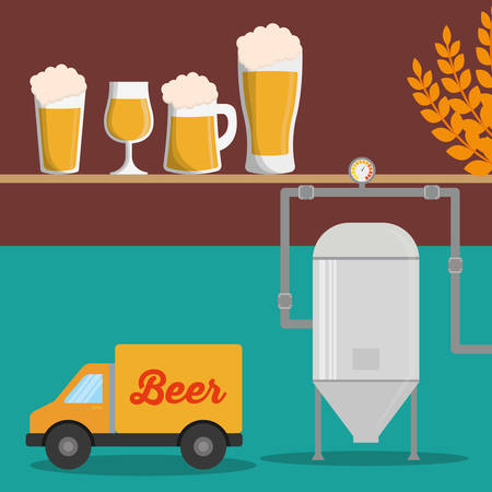 beer stein: brewery beer glasses wheat truck vector illustration eps 10 Illustration