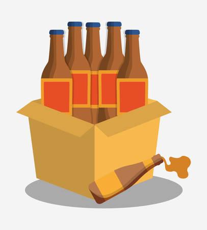 bottles beer cardboard box vector illustration eps 10 Illustration