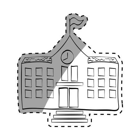 School building draw icon vector illustration graphic design