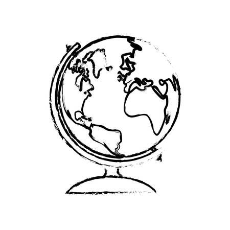 globe terrestre dessin: école icône globe terrestre illustration vectorielle de conception graphique
