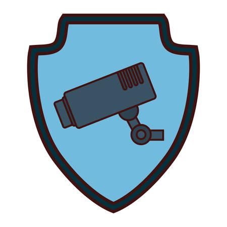 monitored: surveillance camera emblem icon image vector illustration design