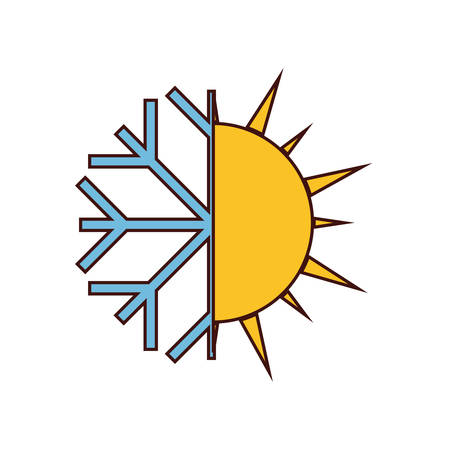 sun and snowflake weather icon image vector illustration design