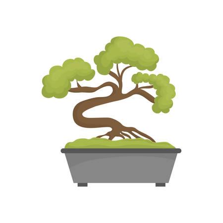 raíz de planta: icono del árbol de ilustración vectorial japonés bonsai diseño gráfico