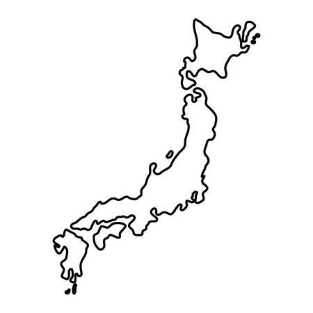 Japonia mapa kraju ikona wektor ilustracja projekt graficzny Ilustracje wektorowe