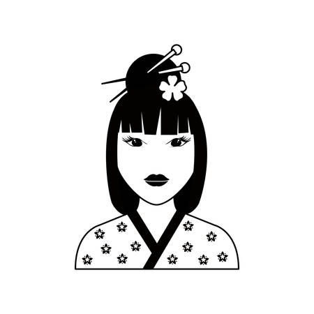 nude young: Beautiful geisha face icon vector illustration graphic design