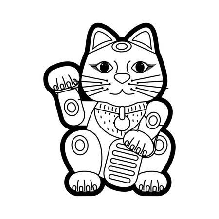 마네 키 네코 행운의 고양이 아이콘 벡터 일러스트 레이 션 그래픽 디자인 일러스트