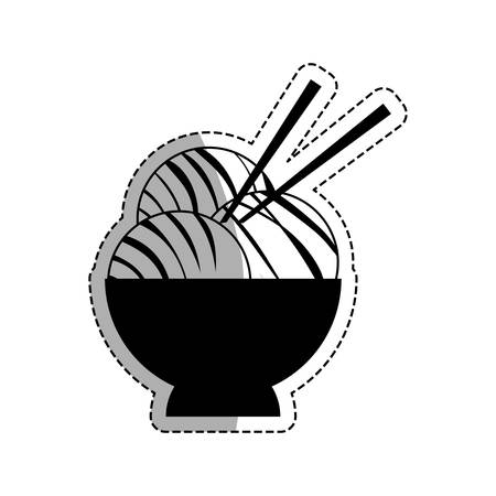 cooked rice: Asian food gastronomy icon vector illustration graphic design