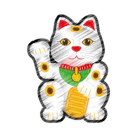 neko: maneki neko lucky cat icon vector illustration graphic design
