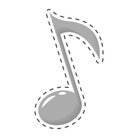 quaver: musical note icon image cut off vector illustration design