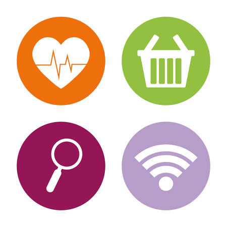 scrollbar: heartrate shopping search wifi assorted app buttons icon image vector illustration design