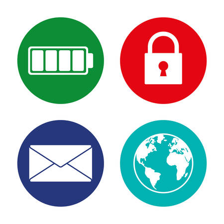 scrollbar: battery lock message internet assorted app buttons icon image vector illustration design