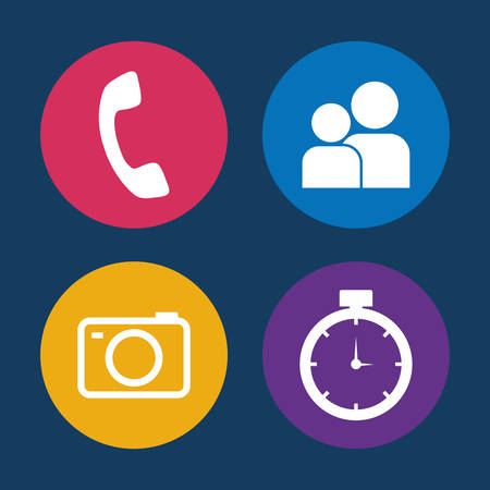 scrollbar: call contacts camera chronometer assorted app buttons icon image vector illustration design