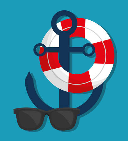 preserver: life preserver with travel related icons image vector illustration design