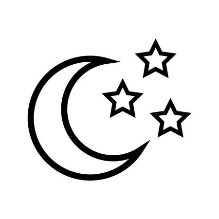 moon and stars icon over white background. vector illustration
