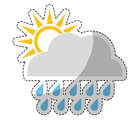 sticker of sun and cloud with rainydrops weather icon over white background. colorful design. vector illustration