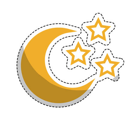 sticker of moon and stars icon over white background. colorful  design. vector illustration