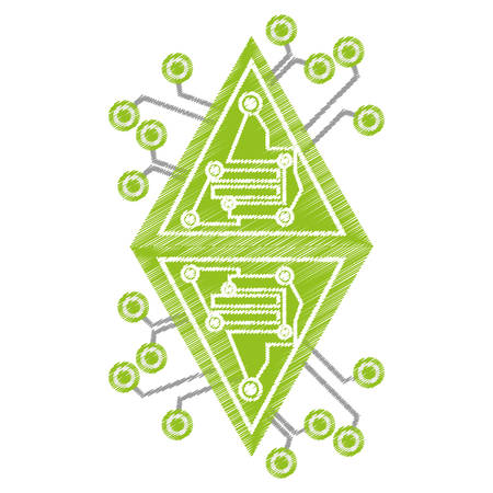drawing computer circuit diamond electronic component vector illustration eps 10