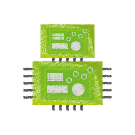 drawing microchip hardware component computer vector illustration eps 10