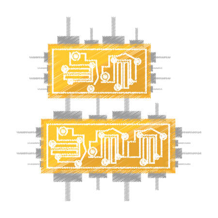 electronic board: drawing circuit board electronic componet vector illustration eps 10 Illustration