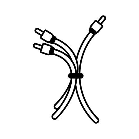 plug wire cable different colors linear vector illustration eps 10 Illustration