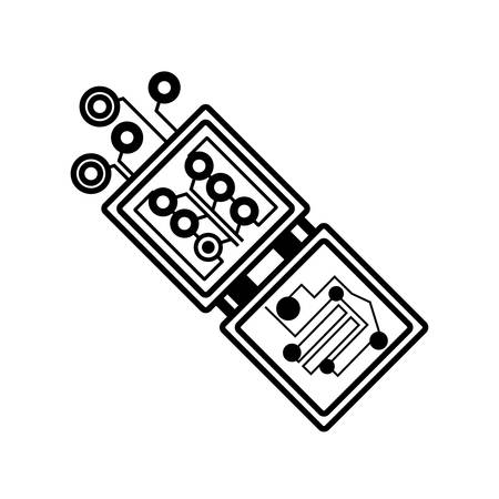 electronic board: electronic circuit board hardware linear vector illustration eps 10