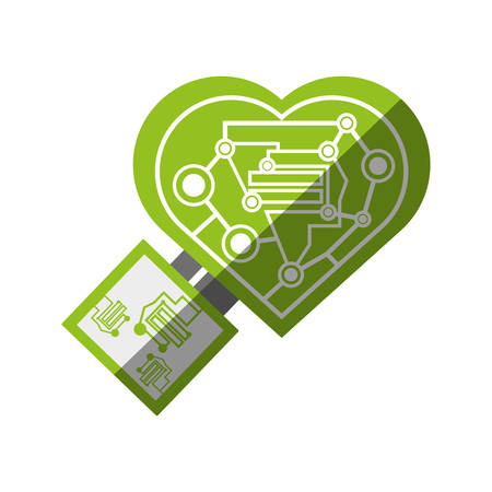 microcircuit: computer circuit heart electronic component vector illustration eps 10 Illustration