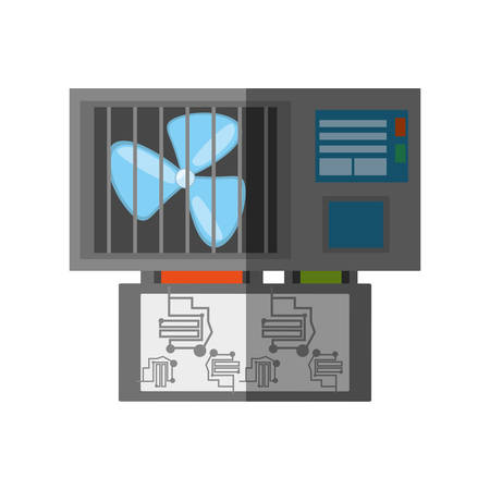 power supply unit: computer cooler fan electronic shadow vector illustration eps 10