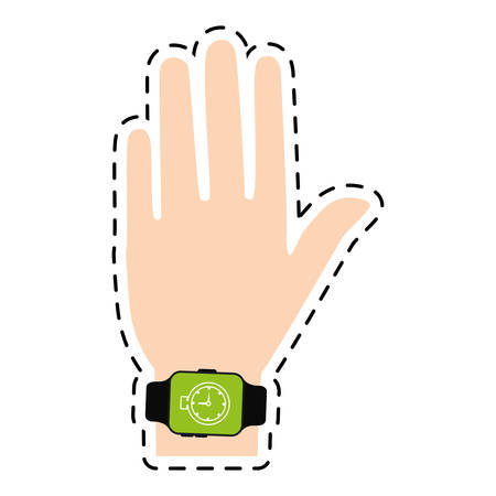 hand with smart watch timer technology line vector illustration eps 10