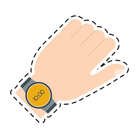 hand with smart watch trendy wearable line vector illustration eps 10 Illustration