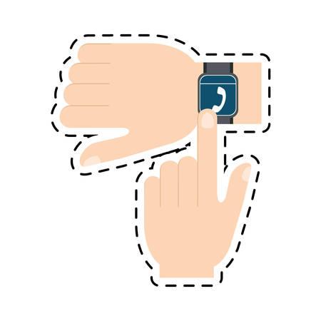 hand touchscreen smart watch wearable technology line vector illustration eps 10