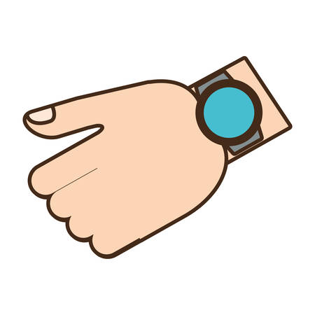 cartoon hand with smart watch trendy wearable technology vector illustration eps 10