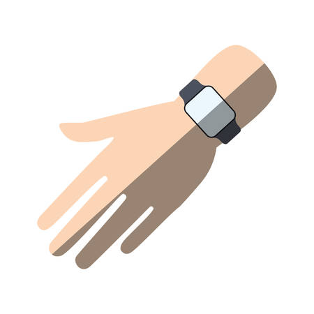 hand with smart watch trendy wearable shadow vector illustration eps 10