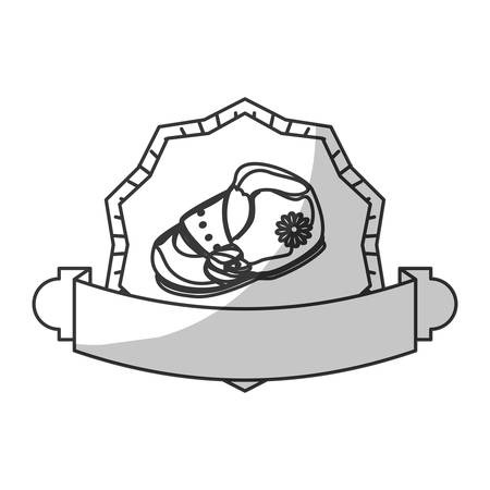 illustraiton: seal stamp with baby shoe icon over white background. vector illustraiton