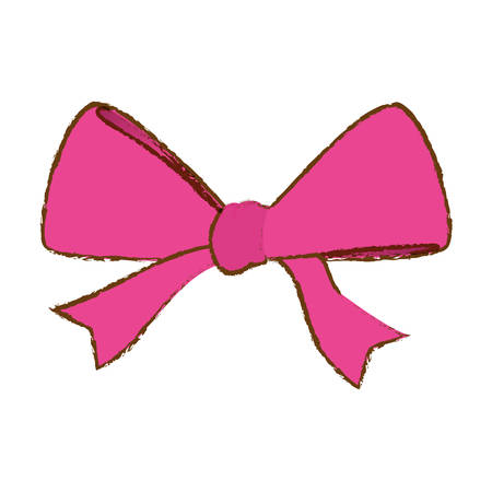 pink bow: pink bow ribbon icon over white background. vector illustration